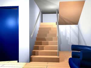 Planos de Escalera de cables de acero tensados, en Modelos de escaleras 3d – Escaleras
