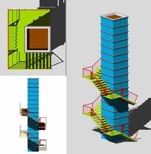 Planos de Escalera y elevador 3d, en Modelos de escaleras 3d – Escaleras