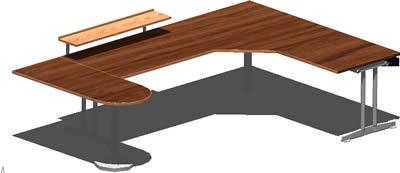 Planos de Escritorio 3d con materiales aplicados, en Escritorios – Muebles equipamiento