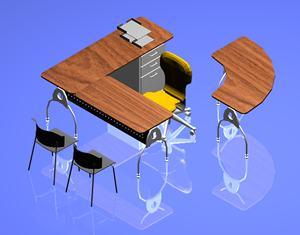 Planos de Escritorio moderno en 3d con materiales  aplicados, en Escritorios – Muebles equipamiento