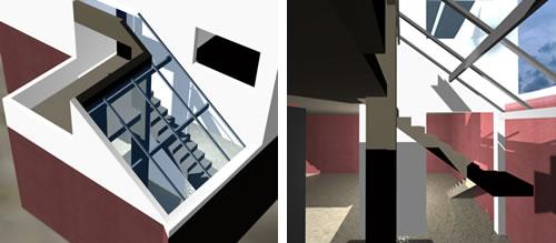 Planos de Espacio de escalera con lucernario, en Modelos de escaleras 3d – Escaleras