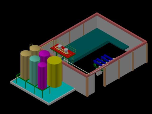 Planos de Esquema 3d planta de procesamiento de aceite y harina de pescado, en Maquinaria – proyectos varios – Máquinas instalaciones