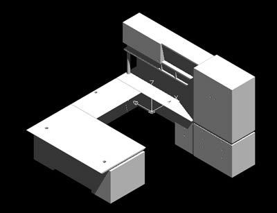 Planos de Estacion de trabajo de directivo, en Escritorios – Muebles equipamiento