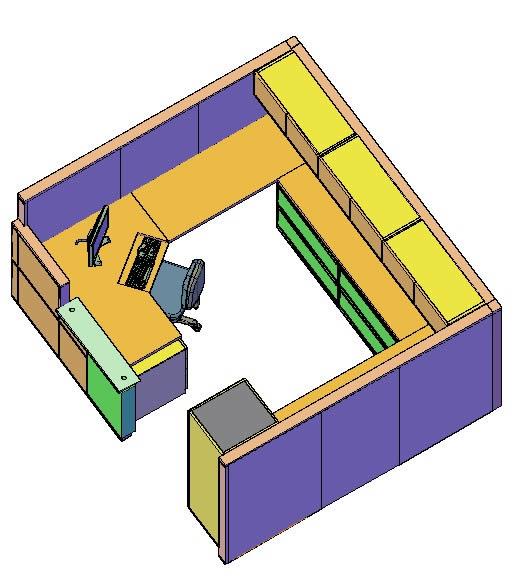 Planos de Estacion secretarial 3d, en Equipamiento bancario – Muebles equipamiento
