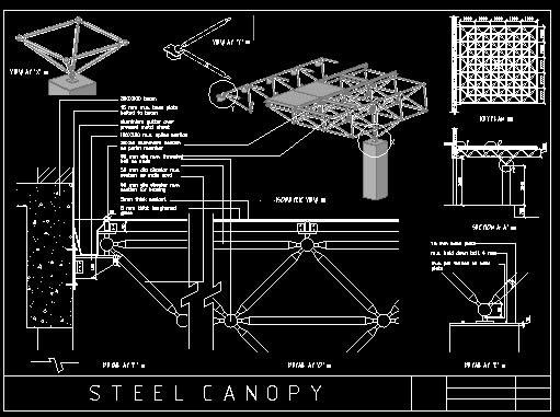 Planos de Estereo estructura, en Estructuras de acero – Detalles constructivos