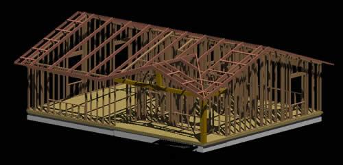 Planos de Estructura de casa de madera en 3d, en Madera – técnica tradicional – Sistemas constructivos