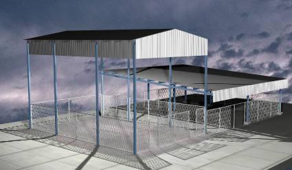 imagen Estructura metalica; techos de lamina; malla ciclonica, en Estructuras de acero - Detalles constructivos