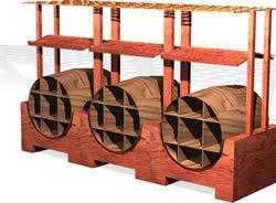 Planos de Expositor bodega en 3d, en De madera – Detalles constructivos