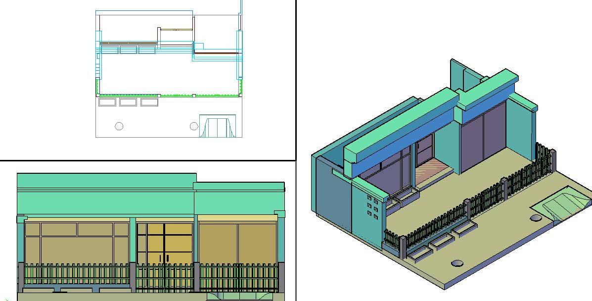 Planos de Fachada en 3d, en Vivienda unifamiliar 3d – Proyectos