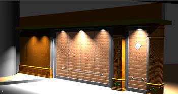 Planos de Fachada portón muralla 3d, en Accesos – Proyectos