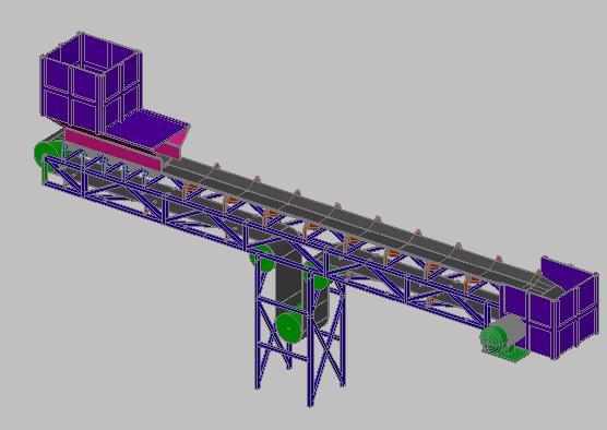 Planos de Faja transportadora para mineria 3d, en Industria minera – Máquinas instalaciones