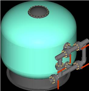 Planos de Filtro astral 1800 y bateria de valvulas 3d, en Salas de máquinas – filtros – Piscinas y natatorios
