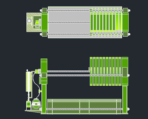 Planos de Filtro prensa, en Industria minera – Máquinas instalaciones