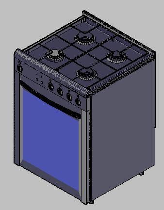 Planos de Fogáo 4 bocas 3d – cocina 4 hornallas 3d, en Electrodomésticos – Muebles equipamiento