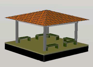 Planos de Gazebo 3d, en Pérgolas fuentes y elementos decorativos – Parques paseos y jardines