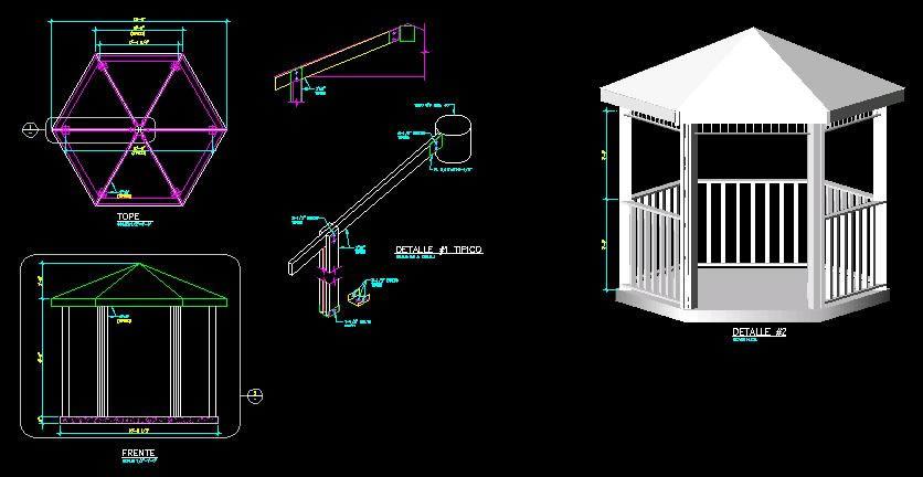 Planos de Gazebo en 3d, en Pérgolas fuentes y elementos decorativos – Parques paseos y jardines