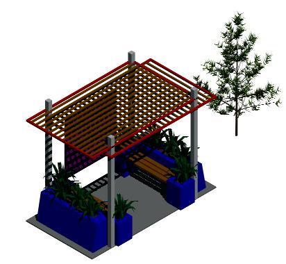 Planos de Glorieta 3d, en Pérgolas fuentes y elementos decorativos – Parques paseos y jardines