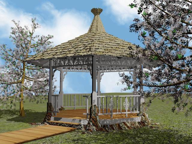 Glorieta en la costa 3d, en Pérgolas fuentes y elementos decorativos – Parques paseos y jardines
