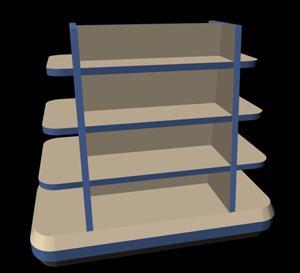 Gondola 3d – muestrario de mercado, en Supermercados y tiendas – Muebles equipamiento