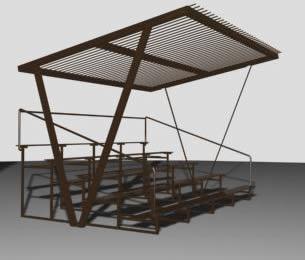 imagen Gradas de estructura metalica 3d, en Equipamiento - Parques paseos y jardines