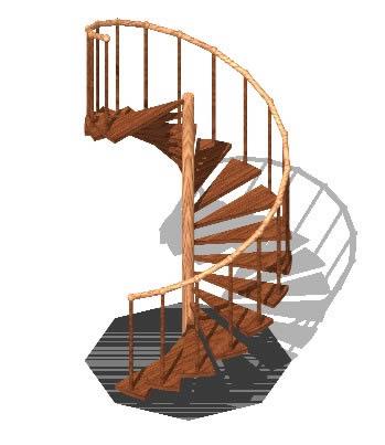 Planos de Gradas en espiral en madera 3d, en Modelos de escaleras 3d – Escaleras