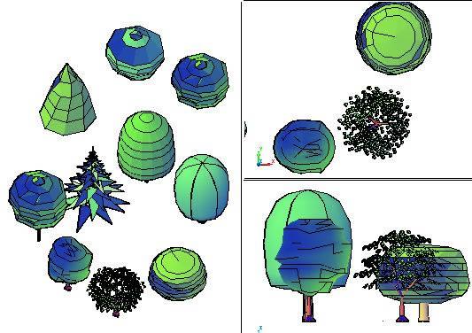 Grupo de arboles, en Arbustos en 3d – Arboles y plantas