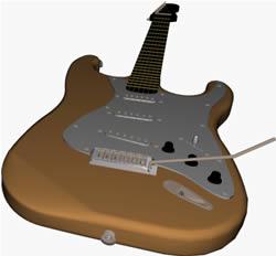 Guitarra 3d, en Instrumentos musicales – Muebles equipamiento