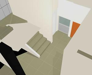 Hall de distribución con escalera 3d, en Accesos – Proyectos