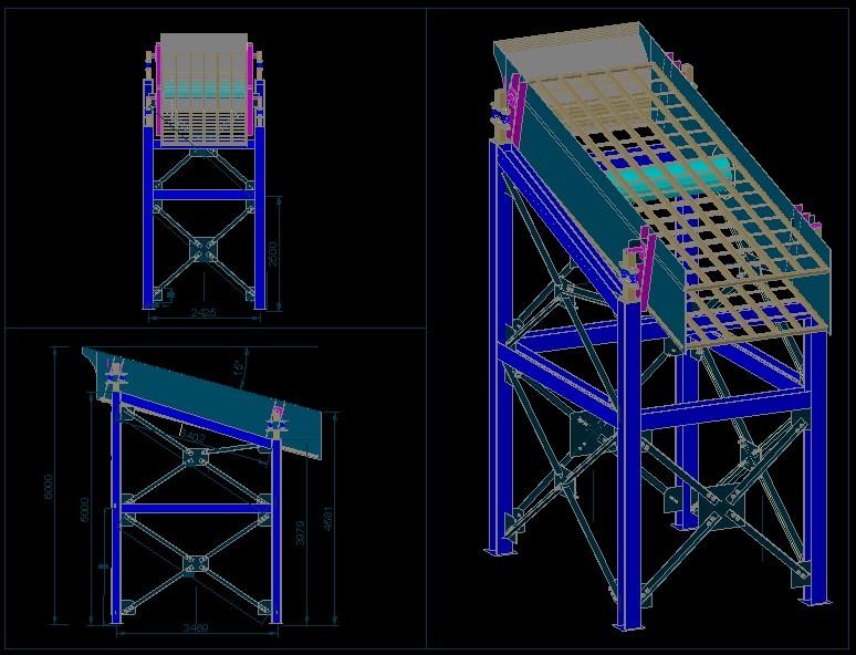 Planos de Harnero vibratorio, en Industria minera – Máquinas instalaciones
