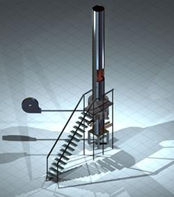 imagen Horno de cubilote en 3d con materiales aplicados, en Maquinaria e instalaciones industriales - Máquinas instalaciones