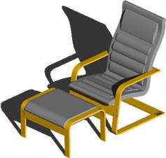 Planos de Ikea – silla blankhult con apoya pies, en Sillas 3d – Muebles equipamiento