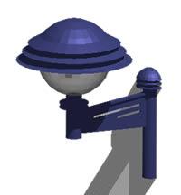 Planos de Iluminacion para espacio exteriores en 3d – para adosar a muro, en Luminarias y faroles – Parques paseos y jardines
