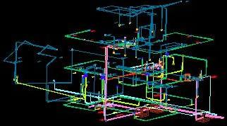imagen Isometrico de instalaciones electricas; agua potable y drenaje sanitario, en Instalaciones varias - Instalaciones