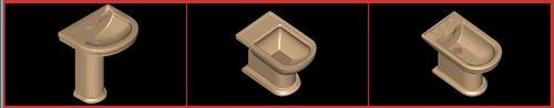 Planos de Juego de baño ideal standard – calla, en Juegos de baño ideal standard 3d – Sanitarios