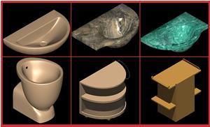 Planos de Juego de baño ideal standard – small, en Juegos de baño ideal standard 3d – Sanitarios