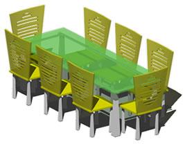 imagen Juego de comedor en 3d, en Mesas y juegos de comedor 3d - Muebles equipamiento