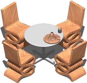 Planos de Juego de comedor, en Sillas 3d – Muebles equipamiento