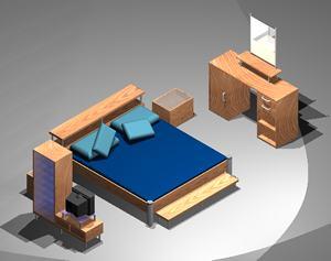 Planos de Juego de dormitorio 3d con materiales aplicados, en Dormitorios – Muebles equipamiento