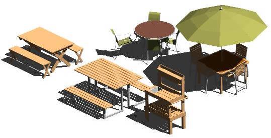 Planos de Juegos de mesas para patios exteriores 3d -, en Equipamiento – Parques paseos y jardines