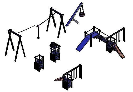 Planos de Juegos de parque en 3d, en Juegos – Muebles equipamiento