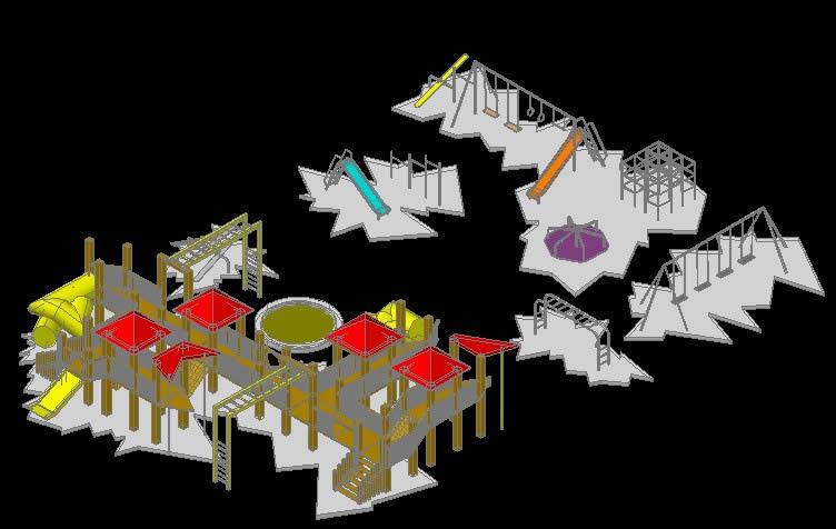 Planos de Juegos infantiles 3d, en Equipamiento – Parques paseos y jardines