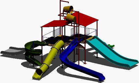Planos de Juegos infantiles en 3d, en Juegos infantiles – Equipamiento urbano