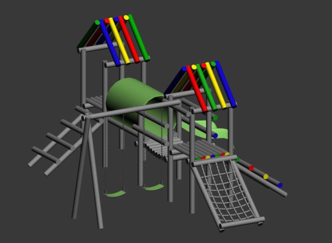 Juegp para parque infantil 3d, en Juegos infantiles – Equipamiento urbano