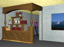 imagen Juguetero de madera utilizado para dividir espacios con materiales aplicados, en Estanterías y modulares - Muebles equipamiento