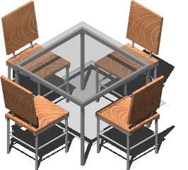 Planos de Jujego de comedor 3d con materiales aplicados, en Mesas y juegos de comedor 3d – Muebles equipamiento
