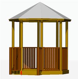 Planos de Kiosco en 3d, en Pérgolas fuentes y elementos decorativos – Parques paseos y jardines