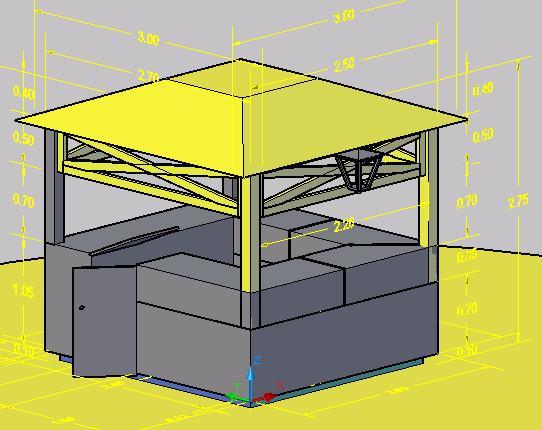 Planos de Kiosco o caseta de madera en 3d, en Centros de información y recepción – Muebles equipamiento