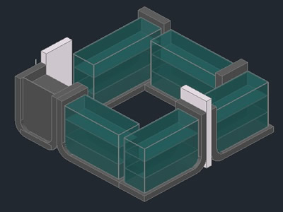 Planos de Kiosko vidrio con base curvas, en Centros culturales salas de exposición museos y stands – Proyectos