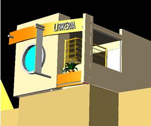 Planos de Libreria en planta alta 3d, en Comercios varios – Proyectos