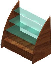 imagen Librero con entrepaños de vidrio 3d con materiales, en Estanterías y modulares - Muebles equipamiento